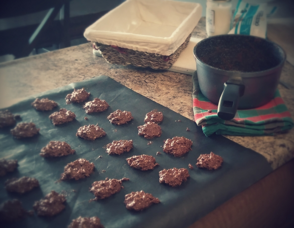 Drop spoonfuls of the chocolate / cocunut amazingness on a cookie cheet